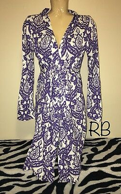 """Baby Be Mine Maternity Purple White Robe Slip Nightgown Size L Large XL 20"""" Nice"""