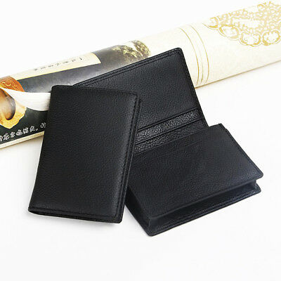 Men Black Leather Expandable Business Credit Card ID Cards Holder Wallet Case