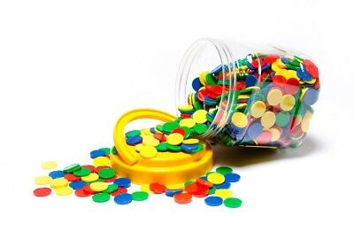 COLOURED MATHS COUNTERS  4 Colours per pack 1000 pk  In Handy Storage Jar