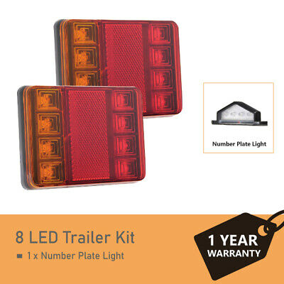 A Pair of 8 LED waterproof Trailer Lights Kit and 1 x number plate light