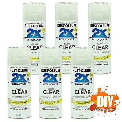 Rust-Oleum 2X Ultra Cover Gloss Clear Spray Paint+Primer 340g x6 Value Pack