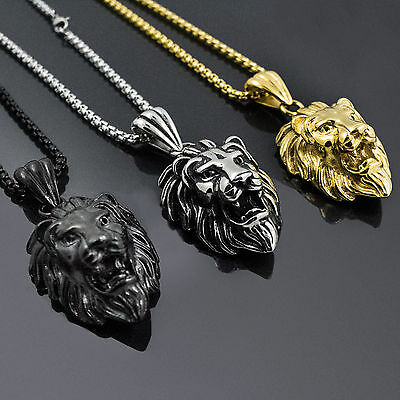 Men's Jewelry Hot Sell Vague Stainless Steel Lion Head Pendant Free Box Necklace