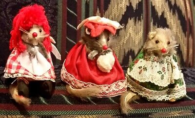 3 ORIGINAL FUR TOYS Mice / Mouse Made in West Germany Raggedy Ann