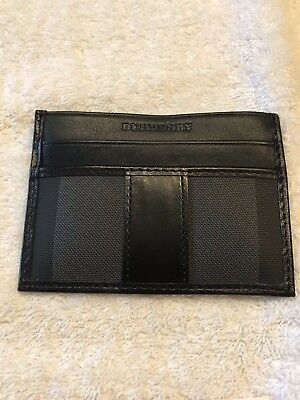 New Authentic Burberry Card Holder Black Haymarket Nova Unisex Wallet $295