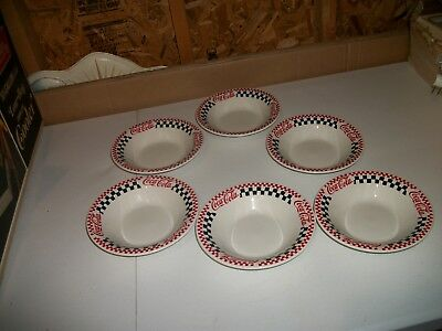 """Gibson China Soup/Cereal Bowl Checkerboard Coca Cola 8"""" Round Stoneware Lot of 6"""