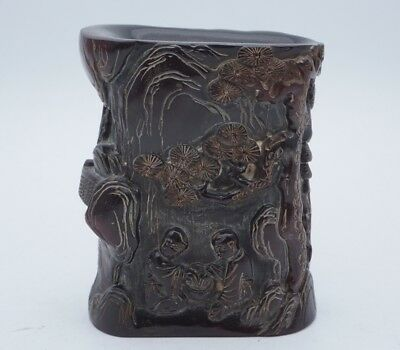 Chinese Exquisite Hand carved pine character carving carving ox Horn cup