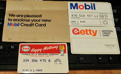 Vintage  Gas / Oil  Credit Cards   Getty, Esso, Mobil   Expired W/ Envelope  (3)