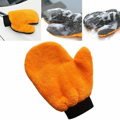 Hot Coral Velvet Plush Mitt Car Wash Mitten Washing Glove Cleaning Brush Tools