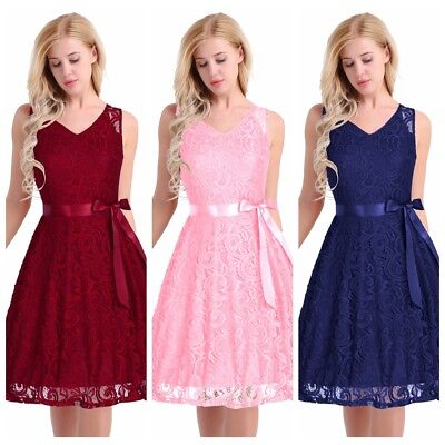 Women's Vintage Floral Lace Dress Formal Wedding Cocktail Evening Party Prom