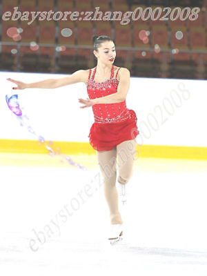 Ice skating dress.Red Competition Figure Skating.Baton Twirling Costume