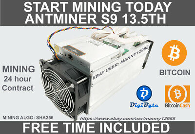 Antminer S9 13.5TH/s 24.5-25 Hours Rental Contract (BONUS TIME INCLUDED!!!)