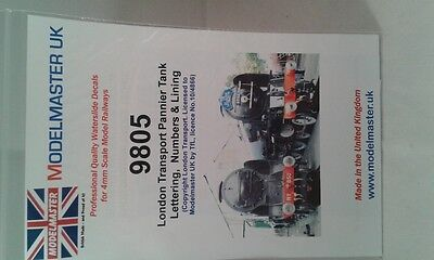 Lines, Letters & Numbers transfers for London Pannier Tank Modelmaster MM9805 L1