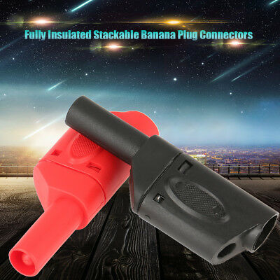 10x 4mm Red+Black Safety Insulated Stackable Wire Cable Banana Plug Connectors