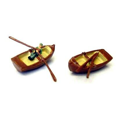 2 Traditional wooden rowing & rowing figure (N scale 1/148th) - Langley A56 - F1