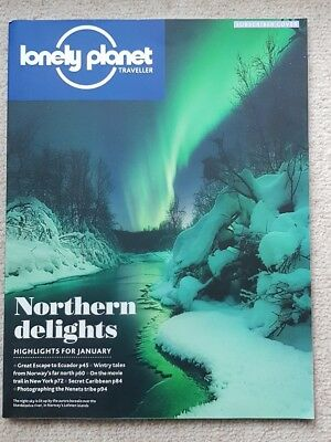 Lonely Planet Travel Magazine. Northern Lights, Ecuador, Norway. January 2016