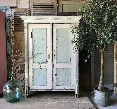 Vintage Continental solid pine rustic old paint cupboard