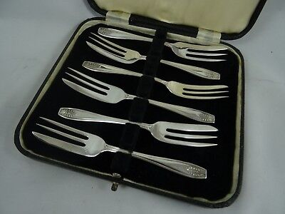BOXED set x 6 solid silver PASTRY FORKS, 1930, 88gm