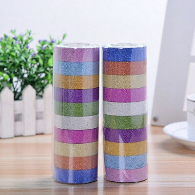 10PCS Glitter Decorative Washi Tape Set for Arts Crafts Gift Wrapping