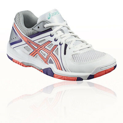 Asics Gel-Task Womens White Pink Indoor Court Squash Sports Shoes Trainers