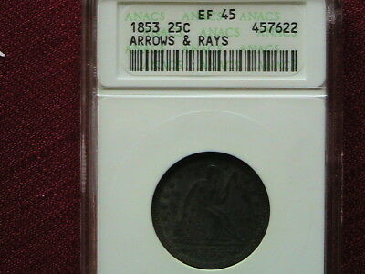 1853 Arrows And Rays Seated Liberty  Anacs Ef-45