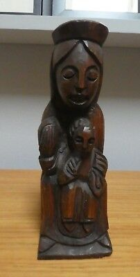 Wooden Medieval Carved Figure,  Religious, Church, Mother & child