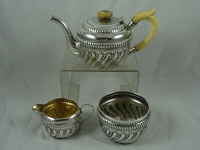 SUPERB , solid silver VICTORIAN `BACHELORS` TEA SET, 1891, 446gm