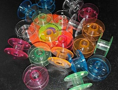 50 Plastic Colour Bobbins (20mm x 10mm) to fit most Domestic Sewng Machines