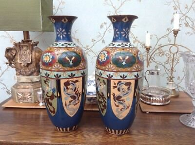 A Large Pair Of Cloisonné  Vases [ one with damage]
