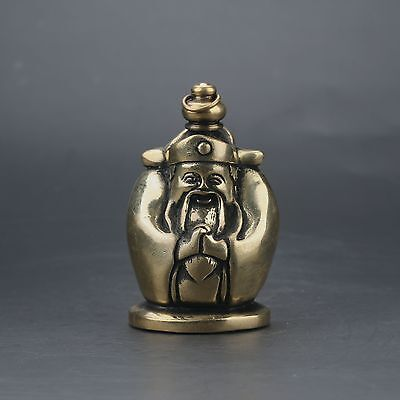 Chinese Brass Handwork Carved God Of Wealth Snuff Bottle