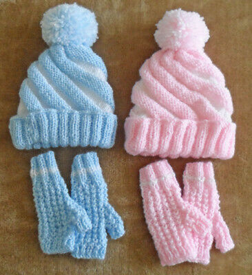 Baby Hat and Mittens set  Blue or PInk