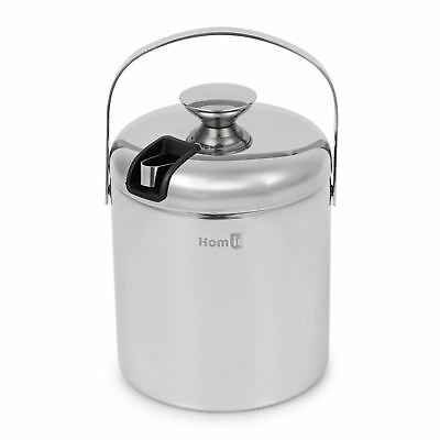 Homiu 1.5L Stainless Steel Double Wall Ice Bucket|With Tongs And Lid