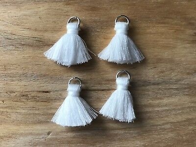 4 x Cotton Tassels 20mm 2cm Long - WHITE - great for earrings & accessories