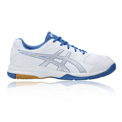6ba089cae9d Asics Gel-Rocket 8 Mens White Blue Indoor Court Sports Shoes Trainers Pumps
