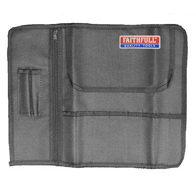 8 Pocket Leather Tool & Chisel Holder Storage Roll Pouch Faithfull FAILCR8