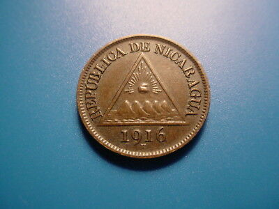Nicaragua 1916-H 1/2-Centavo In Excellent Condition