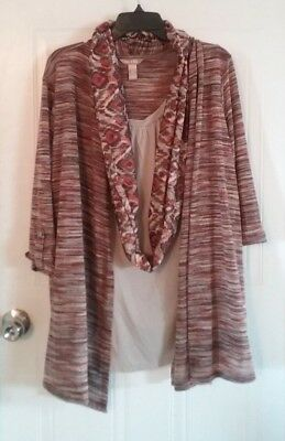 Womens layered top size 2X, 18W/20W, browns/orange, scarf, White Stag -435