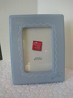 Russ Blue Leather Baby Picture Frame
