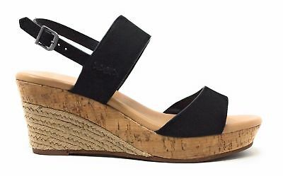 210d33c626a UGG AUSTRALIA $216 Black Nubuck Leather Lucy Bow Wedge Sandals 9.5 ...