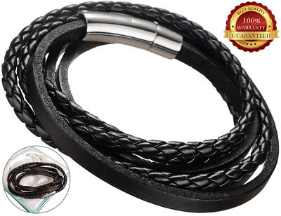 Genuine Surfer Leather Bracelet Mens Wristband Stainless Steel Braided Rope Wrap