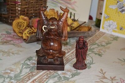 Lovely small wooden Buddha and smaller chinese figure