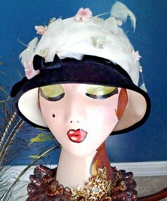 Stunning Marche' Exclusive Cloche flapper Vintage Hat Feathers flowers rhinstone