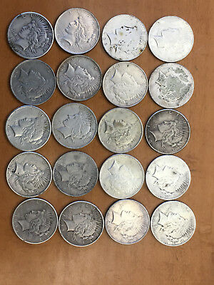 Lot of 20 Peace Silver Dollar Coins