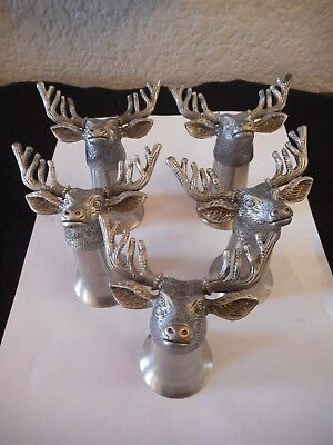 Five VTG Jagermeister Stag Deer Head Pewter and Stainless Steel Shot Glasses EUC