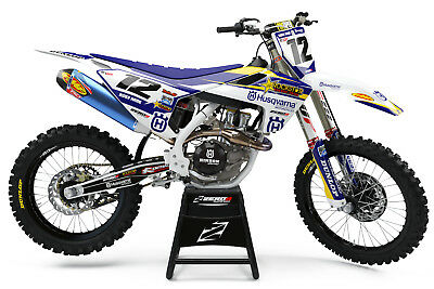 Husqvarna Tc 50 Tc 65 2017 - 2018 Motocross Mx Graphics Full Kit Rockstar Gp Blu