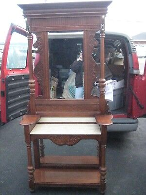 Oak Hall Tree With Carved Lions / Beveled Mirror, Faux Marble Shelf Nice!!