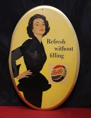 Vintage Pepsi-Cola Oval 1950's Refresh without Filling Sign/Stand (11124) D