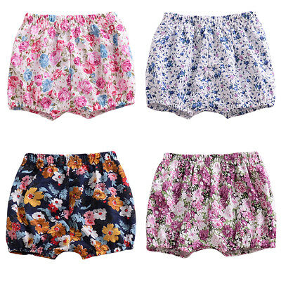 Newborn Toddler Baby Girls Floral Shorts Bloomers Panties Diaper Cover Pants