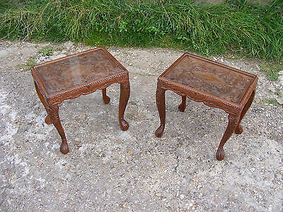 Pair of Antique Vintage Handcrafted Chinese Dragons Carved Tables with Glass Top