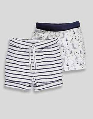 New Baby Boys Tiny Baby - 9M 2 Pack Blue Summer 100% Cotton Shorts