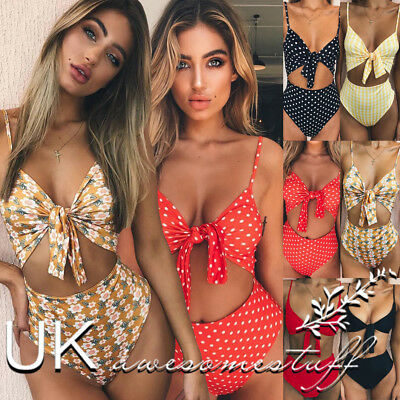 UK Womens Summer Beach Bikini Set Ladies 2 PCS Holiday Swimwear Pool Swimsuit